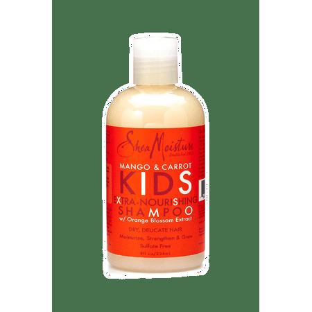 Shea Moisture Mango & Carrot 8 oz KIDS Extra-Nourishing Shampoo, w/ Orange Blossom Extract – Dry, Delicate Hair, 8 oz – Value Double Pack - Qty of