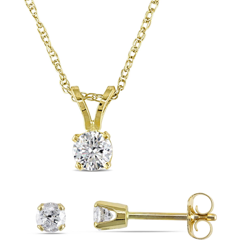 "Miabella 1 2 Carat T.W. Diamond 14kt Yellow Gold Solitary Pendant and Earrings Set, 17"" by Miabella"