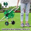 New Upgraded Portable Garden Water Pipe Holder Garden Hose Reels Cart Hose Pipe Storage Holder Trolley Washing Cart With 2 Wheels(Green)