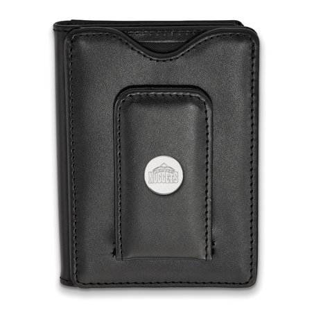 Lex & Lu LogoArt Sterling Silver NBA Denver Nuggets Black Leather Money Clip (Denver Nuggets Wallet)
