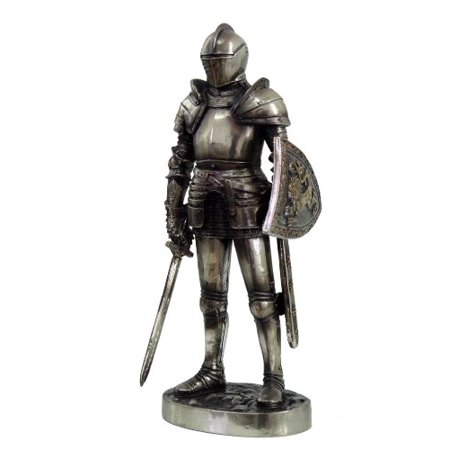 7 Inch Armored Medieval Knight with Shield and Sword Statue (Sword Statue)