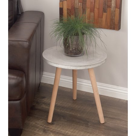 Decmode - Contemporary 18 x 17 inch beech wood and gray fiber clay round table ()