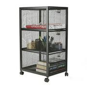 Mind Reader 3-Tiered Drawers Cart, Rolling Mesh Office Cart, Metal Storage, Drawers, File Storage Cart, Utility Cart, Office Storage, Heavy Duty Multi-Purpose Cart, Black