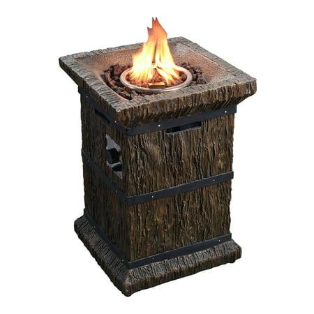 Peaktop Outdoor Wood Grain Square Column Propane Gas Fire ...