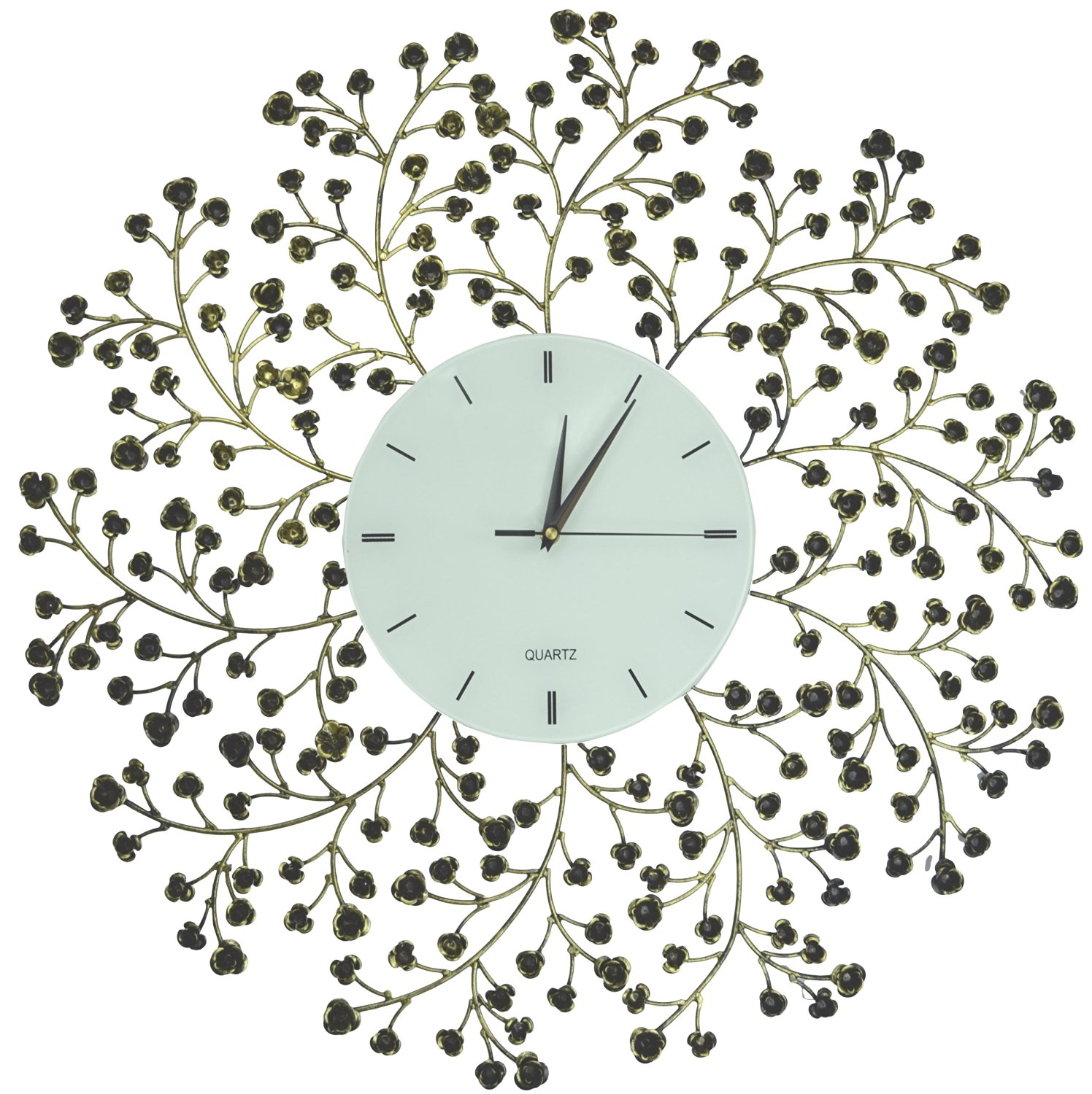 "Lulu Decor, 24.50"" Spring Blooms Metal Wall Clock with White Lines Dial, Decorative Clock for Living Room, Bedroom, Office Space"
