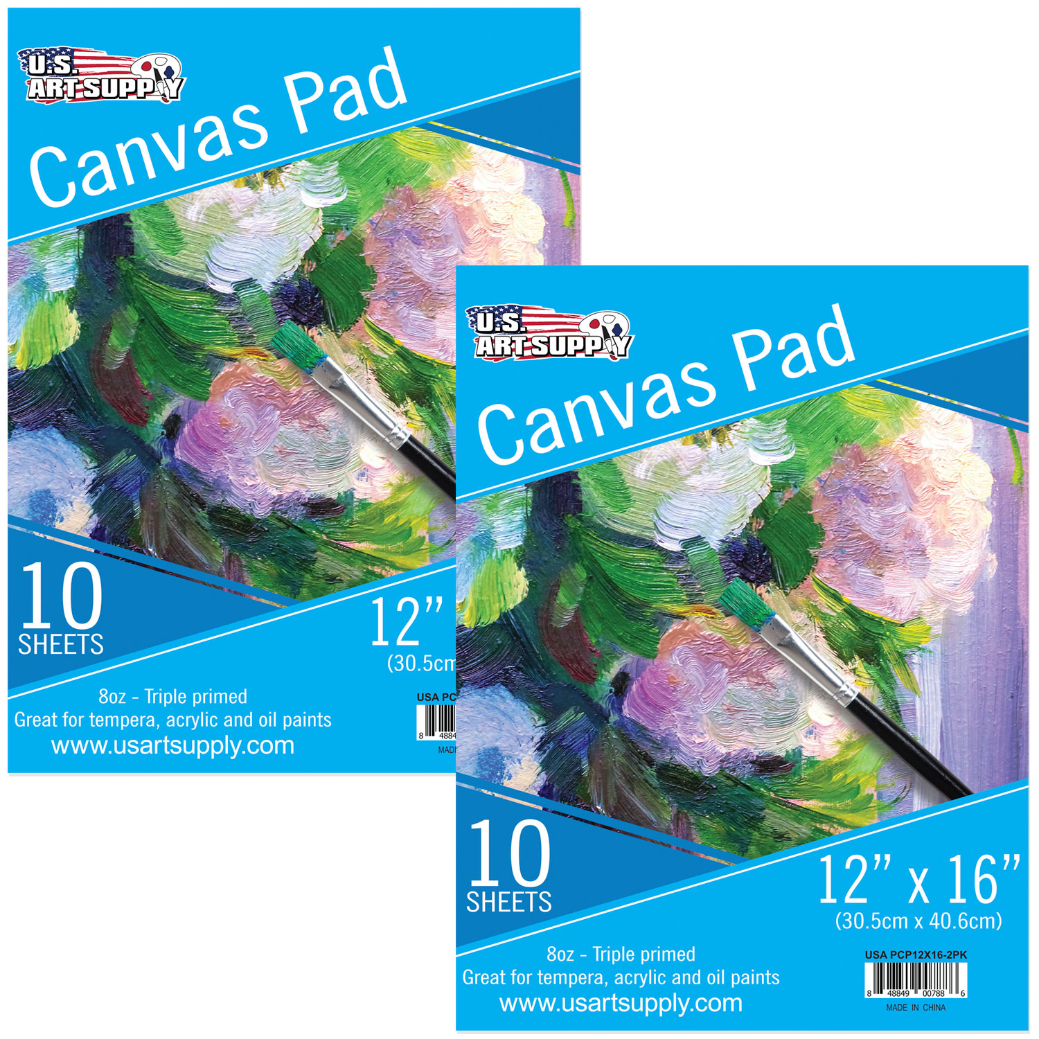 "U.S. Art Supply 12"" x 16"" 10-Sheet 8-Ounce Triple Primed Acid-Free Canvas Paper Pad (Pack of 2 Pads)"