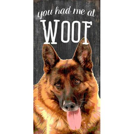 Pet Sign Wood 5x10 You Had Me At Woof German -