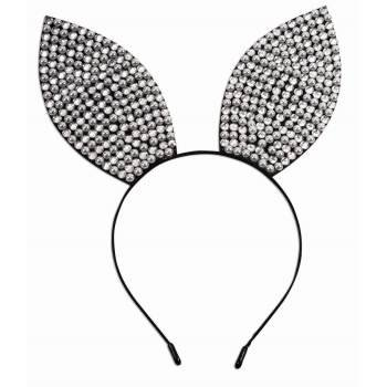 Rhinestone & Pearl Bunny Ears Headband Halloween Costume Accessory
