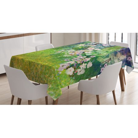 Flower Home Decor Tablecloth Traditional Japanese Cherry Blossom Sakura Tree Petals Grass Land Paint Rectangular Table Cover For Dining Room