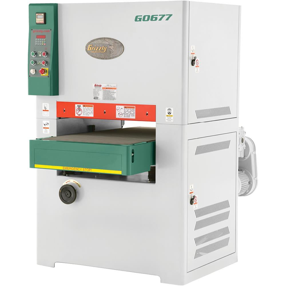 "Grizzly G0677 24"" 15 HP 3-Phase Planer/Wide-Belt Sander"