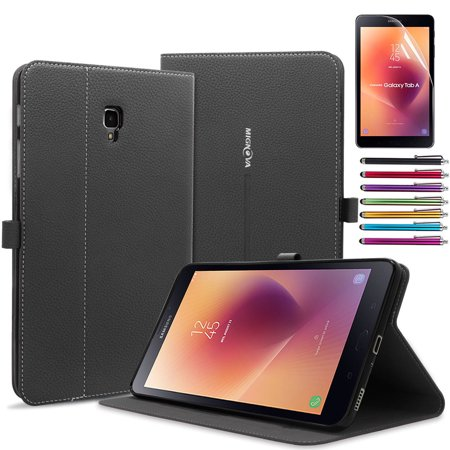 Galaxy Tab A 8.0 Case,Mignova Slim-Fit with Auto Sleep/Wake Feature Case Cover for Samsung Galaxy Tab A 8.0 inch Tablet T380 T385(2017 Release)+ Screen Protector Film and Stylus Pen Black ()