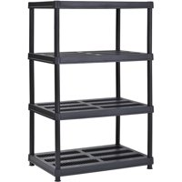"Muscle Rack 36""W x 24""D x 56""H 4-Shelf Resin Shelving Unit, 600 lb Capacity, Black"