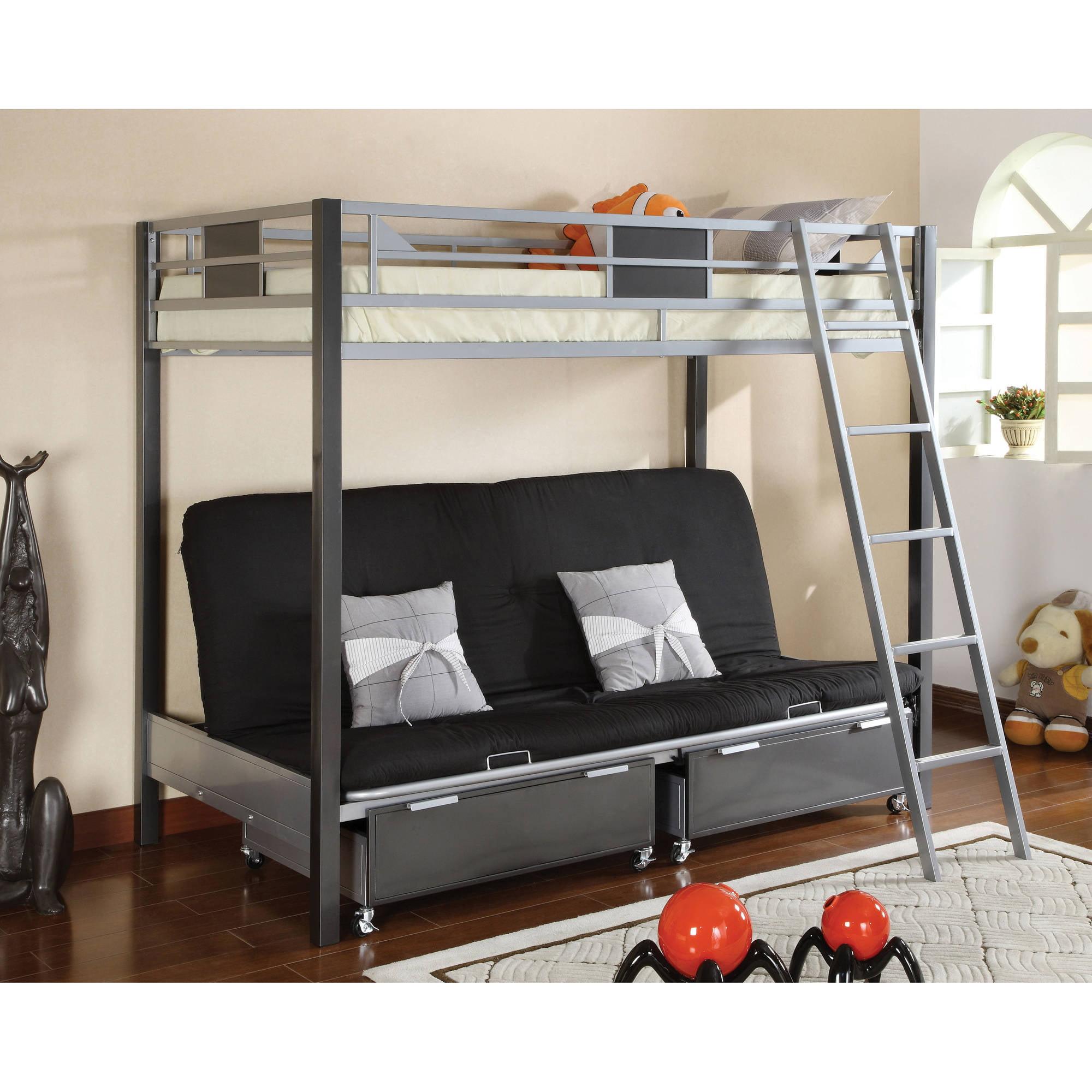 Furniture of America Dasonia Twin Over Futon Metal Bunk Bed, Silver/Gunmetal