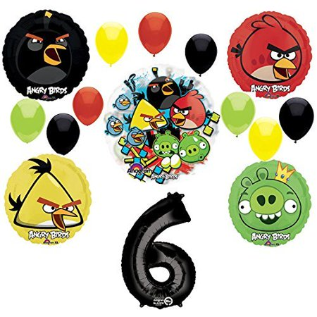 Angry Birds 6th Birthday Party Supplies and Group See-Thru Balloon Decorations](Angry Bird Balloon)