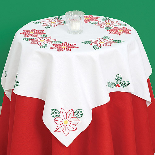 "Stamped White Perle Edge Table Topper 35"" x 35"", Poinsettias"