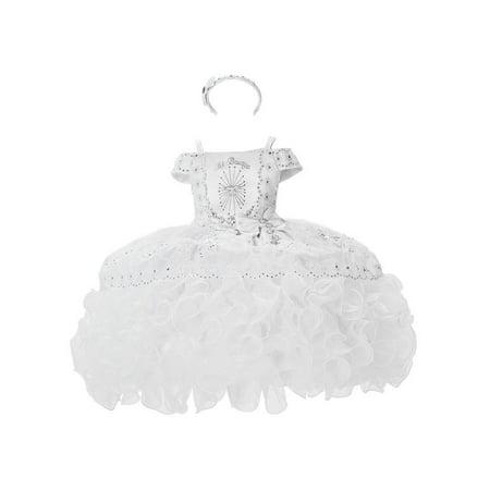 Alegria Kids Baby Girls White Mi Bautizo Embroidered Baptism Dress -