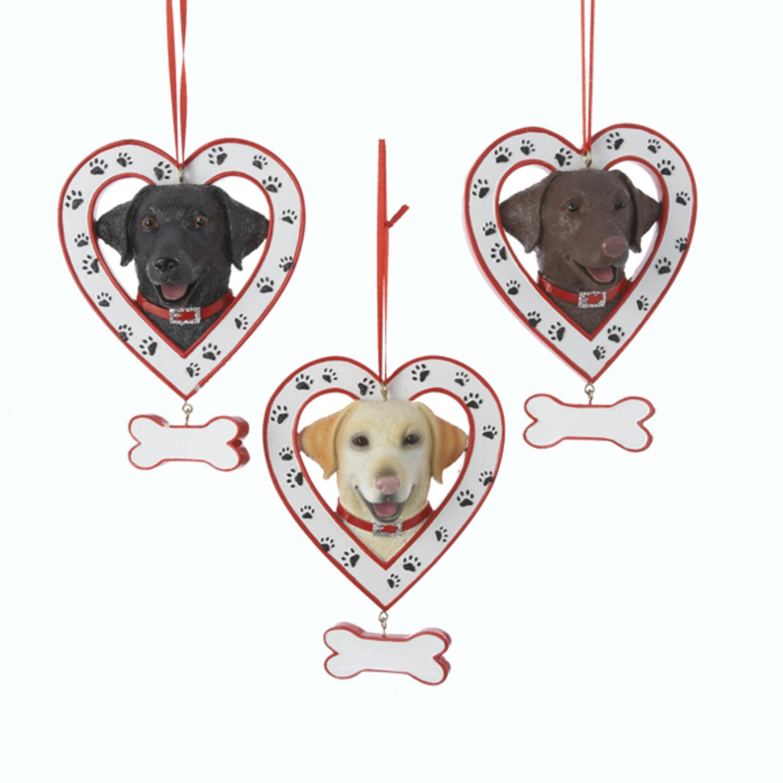 "6 Labrador Retriever Dog in Heart Christmas Ornaments for Personalization 4.5"""