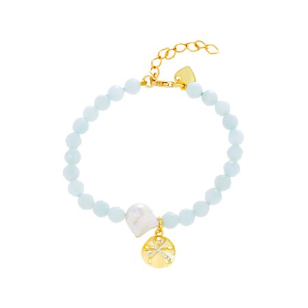 Amazonite Sand Dollar and Heart Charm Beaded Bracelet in Gold over Sterling Silverin Sterling Silver