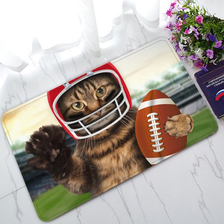 YKCG Funny Animals Sports American Football Funny Cat Doormat Indoor/Outdoor/Bathroom Doormat 30x18 inches