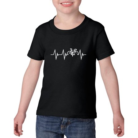 Novelty T-Shirt Bicycle Heartbeat  Heavy Cotton Toddler Kids T-Shirt Tee Clothing