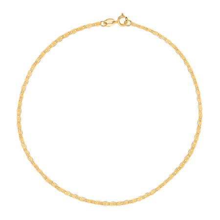 10k Yellow Gold Mariner Link Chain Anklet Bracelet, 1.2mm