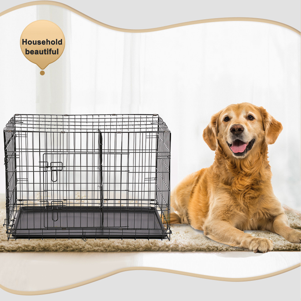 "BestPet 42"" Folding Dog Cage Pet Kennel Crate Cat Dog Wire Metal Cage W/Divider"