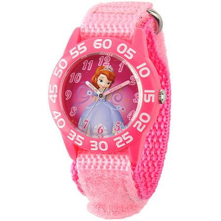 Disney Sofia Girls Plastic Case Watch  Pink Nylon Strap