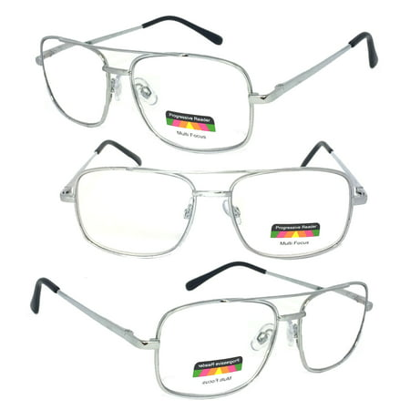 1 Pair Metal Frame Aviator No Line Progressive Trifocal Clear Lens Spring Hinge Reading Glasses - Better Then Bi-Focal bifocal. (Bifocal Lenses)