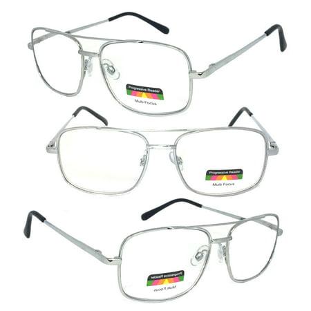 1 Pair Metal Frame Aviator No Line Progressive Trifocal Clear Lens Spring Hinge Reading Glasses - Better Then Bi-Focal (Aviator Glares)