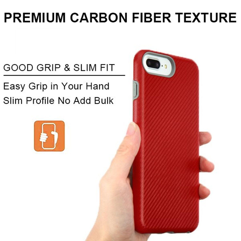 For iPhone 8 Plus case iPhone 7 Plus case by Insten Carbon Fiber ...