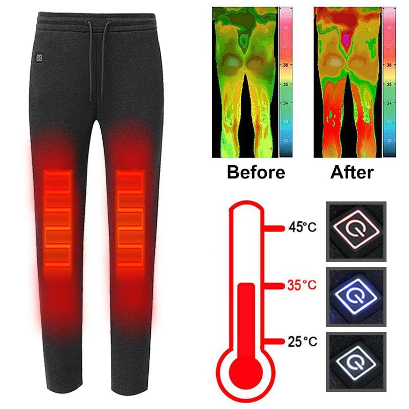 Electric Heated Pants Winter Warm Men Women Elastic Trousers M-6XL USB Heating