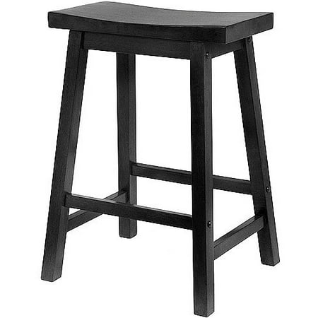 "Winsome Wood Satori Saddle Seat Counter Stool, 24"", Black"