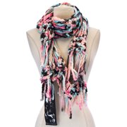 Women's Chunky Knit Scarf One Size Blue & Pink