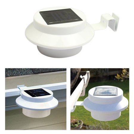 Solar Powered Gutter Lamp 3 Leds ABS Material Waterproof Fence Lawn Pathway Light Outdoor Garden Utility Security - Unique Arts Solar Fence