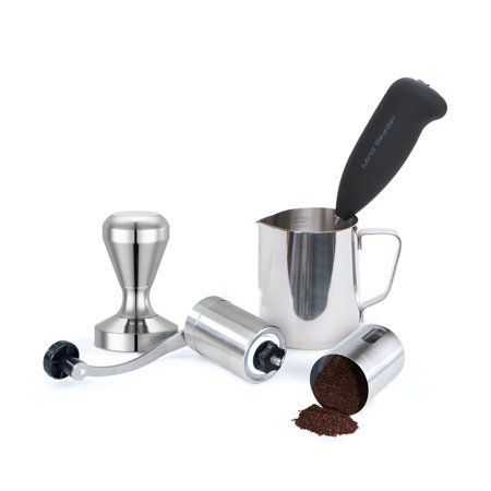 Mind Reader Stainless Steel Coffee Lover 4 pc Set, Tamper, Frother, Pitcher,
