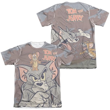 Tom And Jerry Up To No Good (Front/Back Print) Mens Sublimation Poly Cotton Shirt - Jerry Seinfeld Puffy Shirt