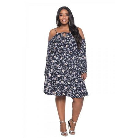 BUXOM - Peasant Dresses For Women, Blue Cold Shoulder Midi Printed Dress  Plus Size - Walmart.com
