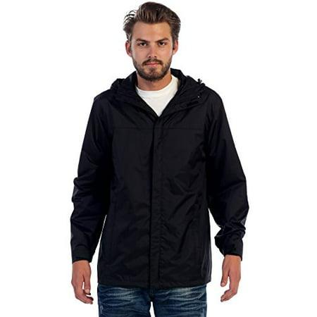 Gioberti Mens Waterproof Front Zip Hooded Rain Jacket, Black ...
