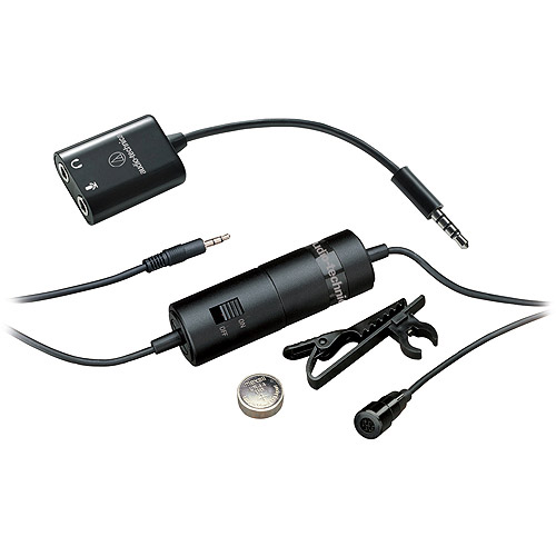 Audio Technica ATR3350iS Omnidirectional Condenser Lavalier Microphone for Smartphones