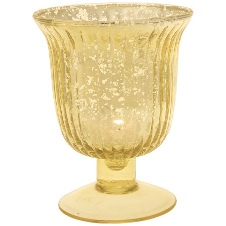 Flute Vase (Vintage Mercury Glass Vase and Candle Holder (5-Inch, Emma Design, Fluted Urn, Gold) - Decorative Flower)