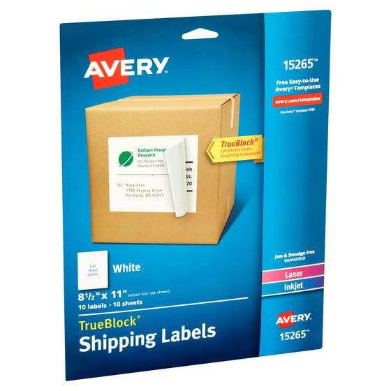 avery white shipping labels with trueblock technology 15265 8 12 x 11 laserinkjet 10pk walmartcom