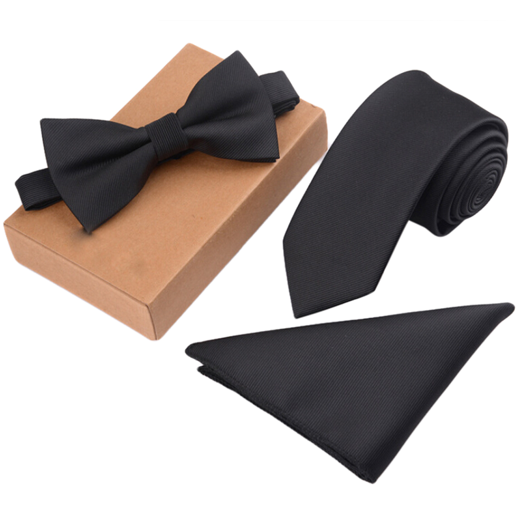 Men's Bow Tie Set Business Tie with Pocket Square & Gift Box