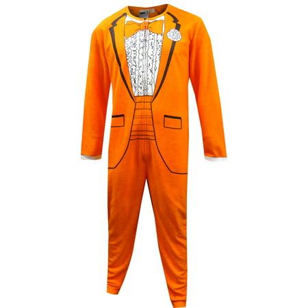 1970's Orange Tuxedo One Piece - Tuxedo Pajamas