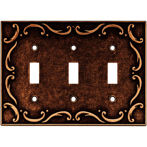 Brainerd French Lace Triple Switch Wall Plate, Available in Multiple Colors