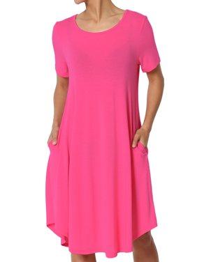 8ecf5bca39b Product Image TheMogan Women s S~3X Short Sleeve Draped Jersey Knit Pocket  A-Line T-