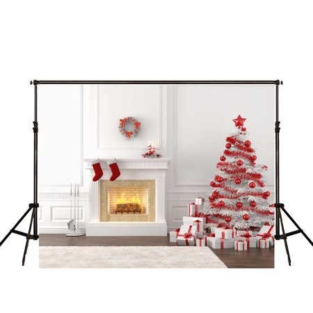 MOHome Polyster 7x5ft White Christmas Photography Backdrop Red ball on Christmas Tree and Fireplace Carpet Photo Background for Children On Fire Photo