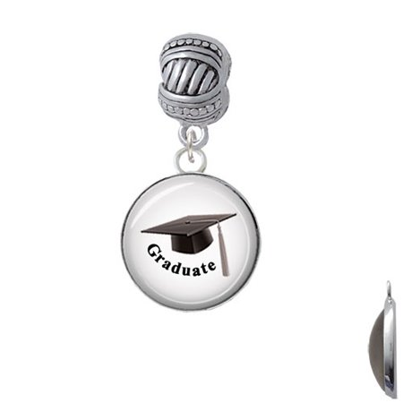 Domed Graduate with Hat - Large Rope with Cross Beads Charm Bead (Graduate Hat)