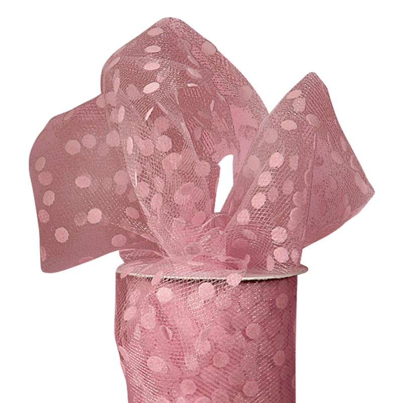 "Tutu Supplies Pink Polka Dot Tulle 6"" X 25 Yards by Paper Mart"