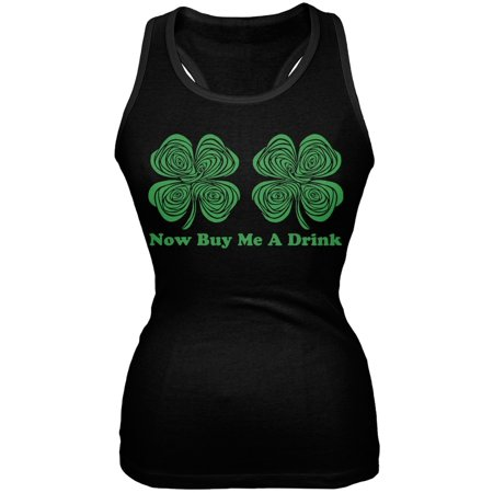 St. Patricks Day - Hypnotic Shamrocks Buy Me a Drink Black Juniors Tank Top