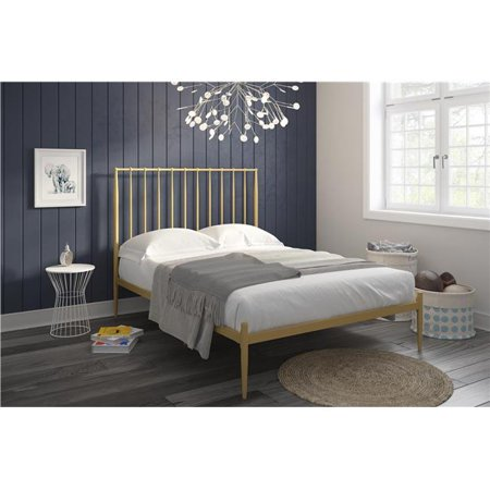 Ash Modern Bed - DHP Giulia Modern Platform Metal Bed, Gold, Multiple Sizes